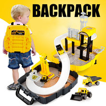 Backpack Parking Lot Rail Vehicles Kids City Parking Garage Toy Military Car Truck Auto 2 Storey Play Set Carrying Case Toys(China)