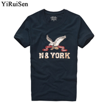 YiRuiSen brand clothing men short sleeve t shirt 100% cotton o-neck fashion letter patch t shirt men summer casual top tees