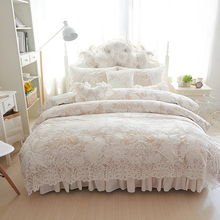 4/6/8pcs Princess style winter Bedding Set white Bed Skirt lace Duvet Cover Comforter Sets Queen King Fleece fabric Bed Linen(China)