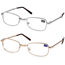 Reading Glasses Men Women New Folding Metal Glasses +1.0 1.5 2.0 2.5 3.0 3.5 4.0 Diopter + Case
