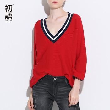 Toyouth suéter de punto 2017 nueva primavera las mujeres elegantes con cuello en v de tres cuartos de manga jerseys jerseys