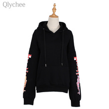 Qlychee Hip Pop Letters 3D Print Women Hoodies AK47 Automatic Rifles Print Pullover Black Long Sleeve Loose Jersey Top(China)