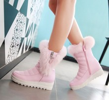 Hot! Plus Size 35-43 2017 New Womens Mid-Calf Boots Black/White/Pink Waterproof Platform Winter Fur Snow Boots Women Shoes