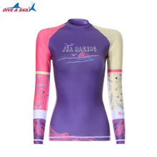 DIVE & SAIL Rash Guard UV Shirt Women Long Sleeve Shirt UPF 50 Swimsuit for Surfing Diving