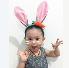 Women FashionCute Rabbit Ears Hair Hoop Headband Hairband for Women Girls High-quality Carrot pattern Hair Band Hair Accessories(China)