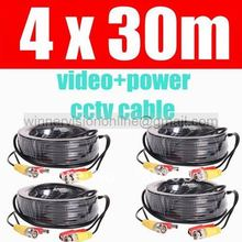 4pcs/lot ,New 4 x 30 Meters BNC CCTV Video Power Cable CCTV Dia 3.0mm Extension Video Power Cable 30m