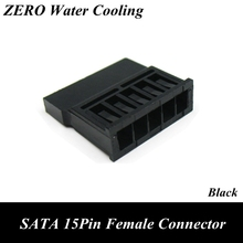 Black Straight SATA 15Pin Female Power Connector With 5pcs Free Pins for PC Modding(China)