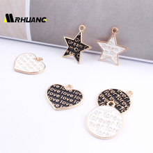 MRHUANG MRHUANG Oil Drop Charms 10pcs/lot  Word Love Star Heart Round  Metal Enamel Charms Trendy Pendant  DIY Bracelet