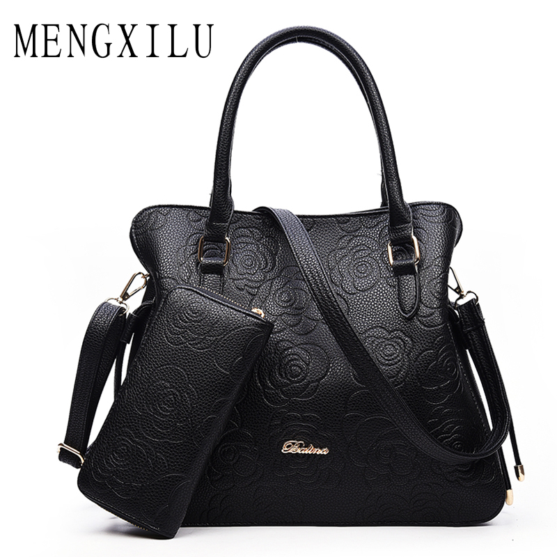 MENGXILU Famous Brand Designer Women Handbags High Quality PU Leather Womens Shoulder Bags Fashion Rose Ladies Top-Handle Bags<br>