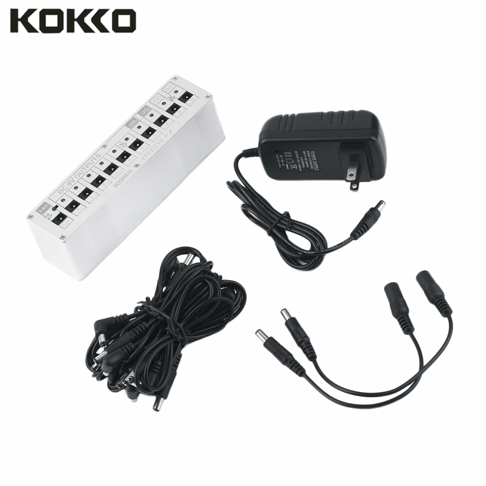 KOKKO 10 Isolated Output DC 9V 12V 18V Guitar Pedal Effect Power Supply Adapter Aluminum Alloy Guitar Accessories<br>