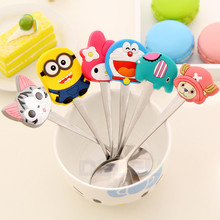 Hot 1pcs Cartoon Silicone Handles Cute Animal Stainless Steel Tea Coffee Spoon Kitchen Tableware Action Figure Model Toy