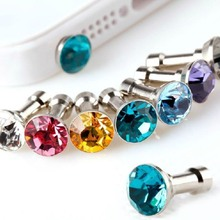 10pcs/lot Colorful Diamond Rhinestone Dust Plug Earphone Plug For iPhone 4 4s 5 5s 6 6s 5C Samsung iPad Mobile Phone Accessories