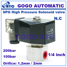 "200bar/100bar 2 way water high pressure solenoid valve 1/4"" 12V DC Orifice 1.2mm/2mm N.C SPG stainless steel car wash pump valve(China)"