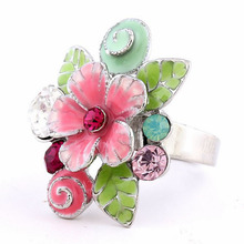 Romantic Fashion Epoxy Rhinestones Colored Adjustable Alloy Big Statement Rings Vintage jewelry Flower Ring Floral Jewellery