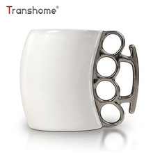 Transhome Creative Boxing Coffee Mug 300ml Ceramic With Brass Knuckle Novelty Personality Porcelain Creative Fist Mug For Gifts(China)