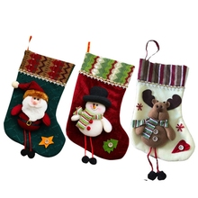 Cartoon Santa Claus Snowman Elk Christmas Socks Festival Xmas Stocking Christmas Ornaments Home Decor Gift(China)