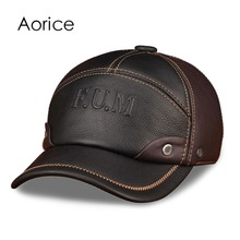 Buy HL063 Men's genuine leather baseball cap brand new spring real cow leather caps hats for $25.47 in AliExpress store