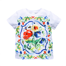 Toddler Girl Tops Tee shirt Enfant Fille 2017 Brand Summer Children T shirt for Girls Clothes Flower Print Baby Girls Tshirts