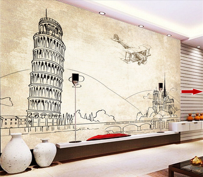 Free Shipping Leaning Tower Pisa European architecture wall painting line drawing TV background wall mural wallpaper<br><br>Aliexpress