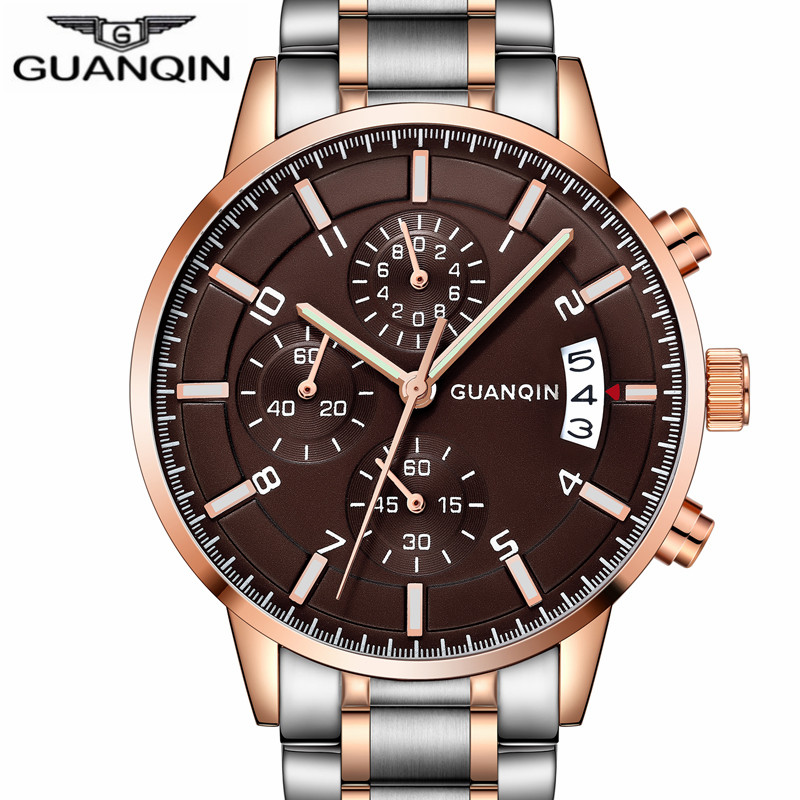 relogio masculino GUANQIN Men Watches Luxury Brand Chronograph Luminous Clock Mens Business Full Steel Waterproof Quartz Watch<br>