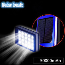 1PCS New  50000mAh Solar Power Bank + LED Camping Light Backup Battery Charger Portable Rechargeable for Mobile Phones