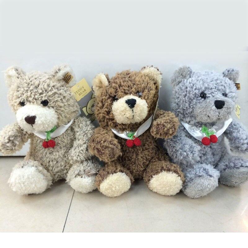 (1 piece) 10 Small Cute Curly Cherry Teddy Bears Stuffed Plush Animals Hug Bears for Children Gift Beige Brown Grey 25cm<br><br>Aliexpress