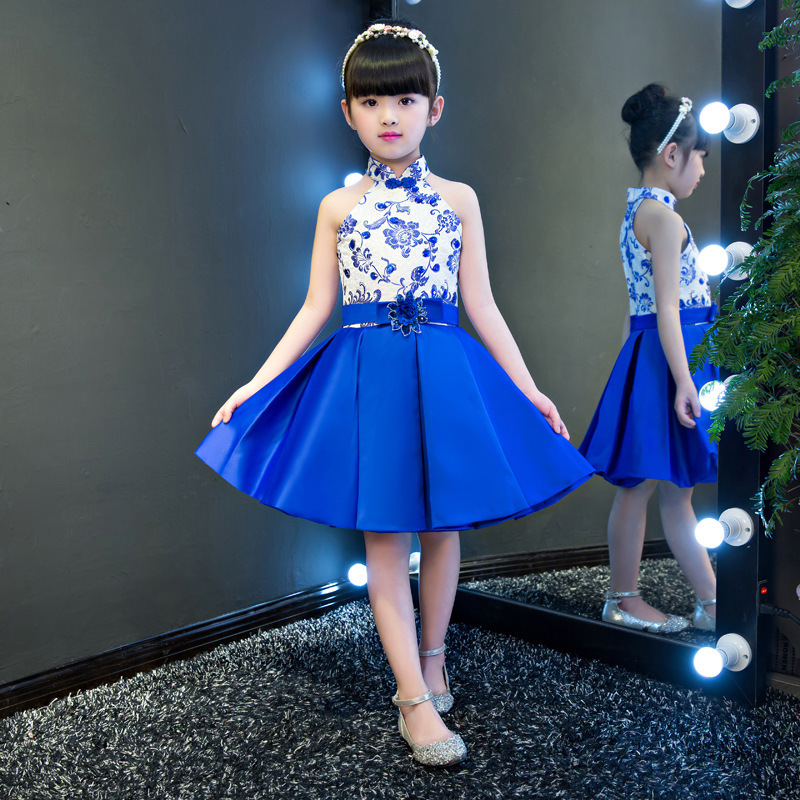 2018 Girl Blue White Mini Cheongsam Sleeveless Children Traditional Chinese Wedding Dress Qipao Short Satin Dresses Kids