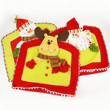 1pcs/lot red Linen printed words meal pad dimity meal pad christmas table mat coaster christmas decoration wholesale