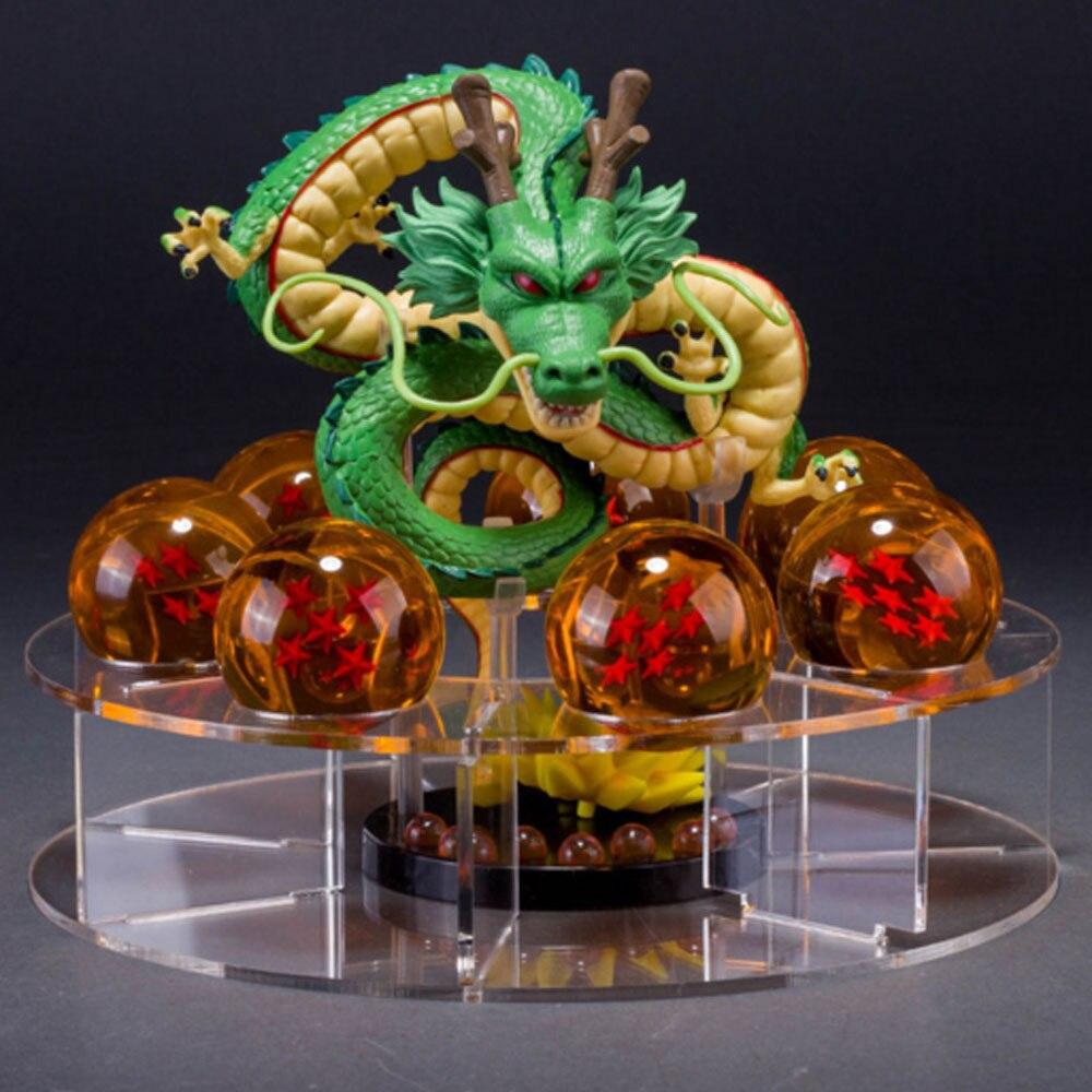 2017 New dragon ball z toy action figures Dragonball figuras 1 figure dragon shenlong +7 crystal balls 4.3cm +1 shelf brinquedos<br>