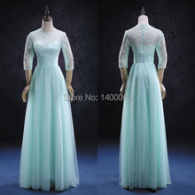 100% Real Sample Half Sleeve Inexpensive Vintage Elegant Tulle Lace Long Mint Green Prom Dresses 2015 Vestidos