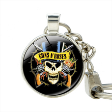 Band Guns N' Roses GNR Keychain Skull Head Logo Cool Metal Pendant High Quality Key Ring For Music Fans