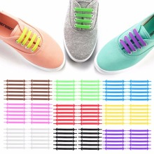 Creative Design Unisex Women Men Athletic Running No Tie Shoelaces Elastic Silicone Shoe Lace All Sneakers 9 Colors Optional(China)
