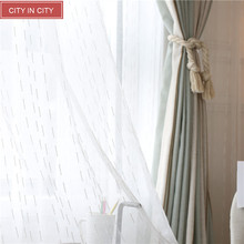 CITYINCITY Fresh Strip White Sheer Transparent Voile For Kitchen And Living room Window Curtains Customized(China)