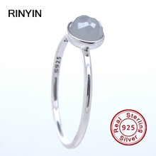 Compatible Brand 925 Sterling Silver Ring Authentic European Fashion Jewelry June Droplet Grey Moonstone Ring