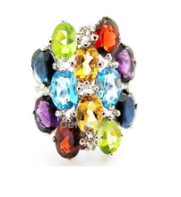 Gemstone ring Natural sapphire,blue topaz,amethyst,citrine,peridot,garnet 925 sterling silver rings 0.45ct*4pcs,0.55ct*8pcs gems