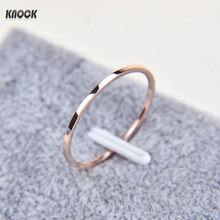 Knock Promotion Titanium Steel Rose Gold Color Anti-allergy Smooth Couple Wedding Ring Woman Man Fashion Jewelry(China)