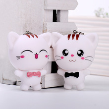 Cat Keychain Pendant Cute Animal Cartoon Car Dog Best Friend Men Women Kid Sister Brother Lovers Cover Holder Handbag Bag Charms(China)