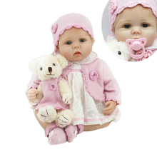 Lovely 22 inch Soft Silicone Reborn Baby Dolls Realistic 55 cm Real Life Babies Dolls With Bear bebe Toy So Truly Kids Playmates(China)