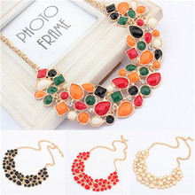 2016 Hot Womens Bib Statement Necklace Luxury Colorful Rhinestone Geometric Chunky Necklace Jewelry Female Collier for christmas