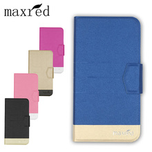 Maxred Fashion PU Leather Case Cover For Micromax Canvas Pace Q415 Flip Book Style Wallet Stand Cover camera hole With Card Slot