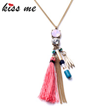 KISS ME Fashion Tide Ethnic Style Rope Tassel Pendants Ms Long Boho Necklace Factory Wholesale