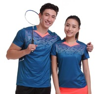 Women/Men table tennis clothes team game training short sleeve V Neck T Shirts Sportswear Quick Dry breathable badminton shirt(China)