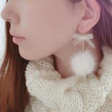 Korean version of the new jewelry fashion Meng Meng da hair ball sweet bow long earrings wholesale Earings Fashion Jewelry