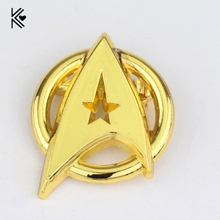 Golded Metal USS Enterprise Symbol Brooches Pins Star Trek Into Darkness Logo Movie Brooch Pins Jewelry For Mens Gifts