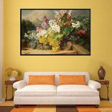 White & Pink Daffodil Yellow Flowers Oil Artwork Print Canvas Waterproof Painting for Office Decor Wall Art Living Room Hot Gift