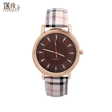 New Fashion Brown Women's Watch Artificial Leather Watch Bracelet Stainless Steel Quartz Watch UK Style