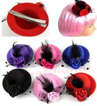 1 PC New Fashion Lady's Mini Hat Hair Clip Feather Rose Top Cap Lace fascinator Costume Accessory 6Colors hot