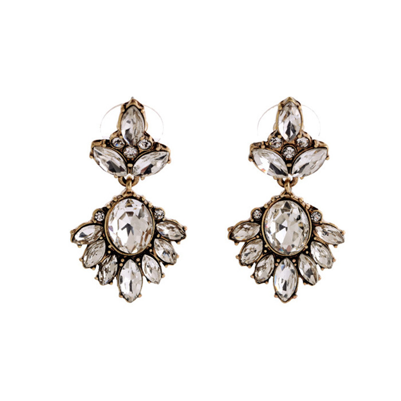 Brincos Women\`s New Year Gift 2016 Antique Gold Plated Transparent Rhinestone Earrings (1)