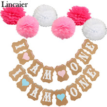 Lincaier 1st Birthday I Am One Kraft Paper Banner Baby Boy Girl My 1 Party Decoration First Year Garland Bunting Supplies(China)