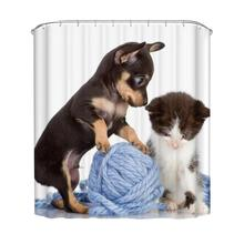 3 sizes 150*180cm/165*180cm/180*180cm Dog And Cat Play Folding Polyster Waterproof Shower Curtains Bathroom Products Accessories